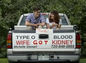 Michelle and Donor sitting in truck after a successful live donor transplant
